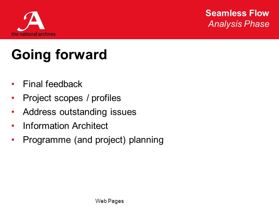 Seamless Flow Analysis Phase Web Pages Going forward Final feedback Project scopes / profiles Address outstanding issues Information Architect Programme (and project) planning
