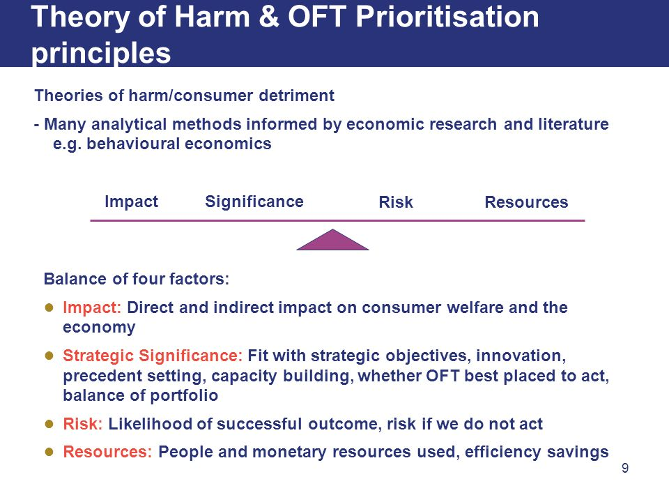 9 Theory of Harm & OFT Prioritisation principles Balance of four factors: Impact: Direct and indirect impact on consumer welfare and the economy Strategic Significance: Fit with strategic objectives, innovation, precedent setting, capacity building, whether OFT best placed to act, balance of portfolio Risk: Likelihood of successful outcome, risk if we do not act Resources: People and monetary resources used, efficiency savings ImpactSignificance RiskResources Theories of harm/consumer detriment - Many analytical methods informed by economic research and literature e.g.
