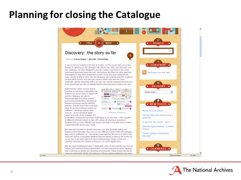 Planning for closing the Catalogue 5