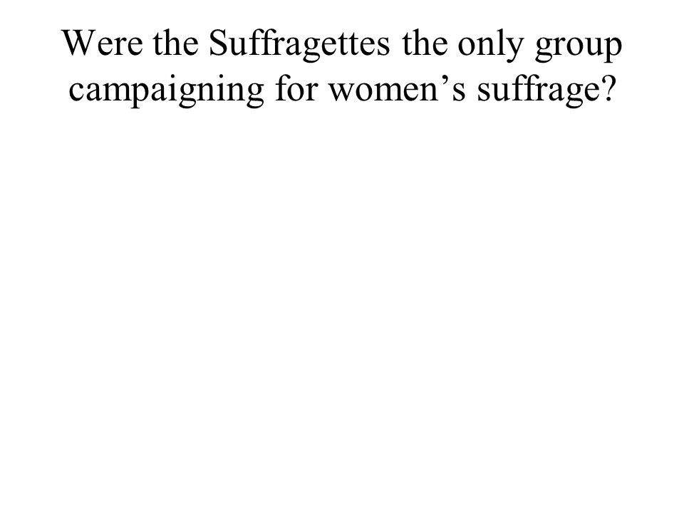 Were the Suffragettes the only group campaigning for womens suffrage