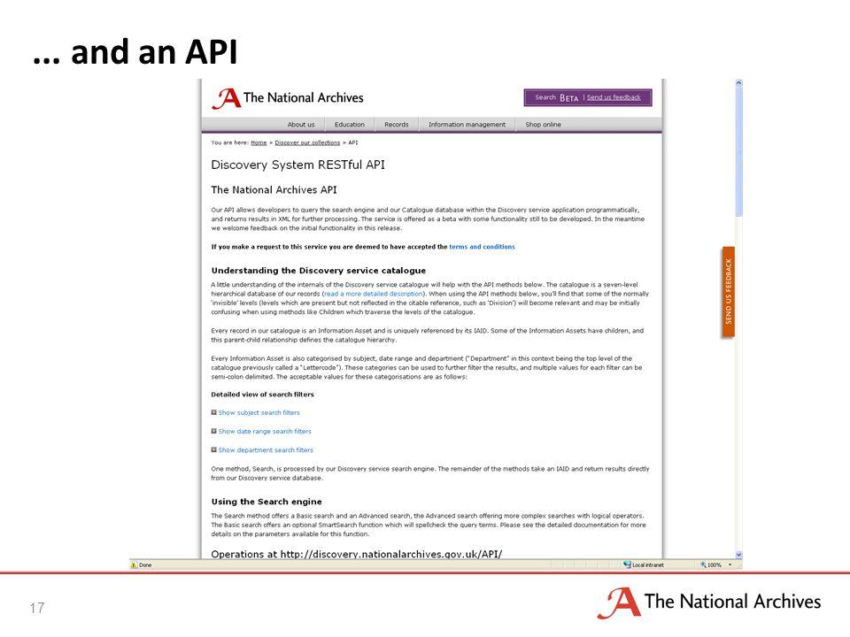... and an API 17