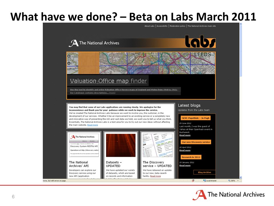 What have we done? – Beta on Labs March 2011 6