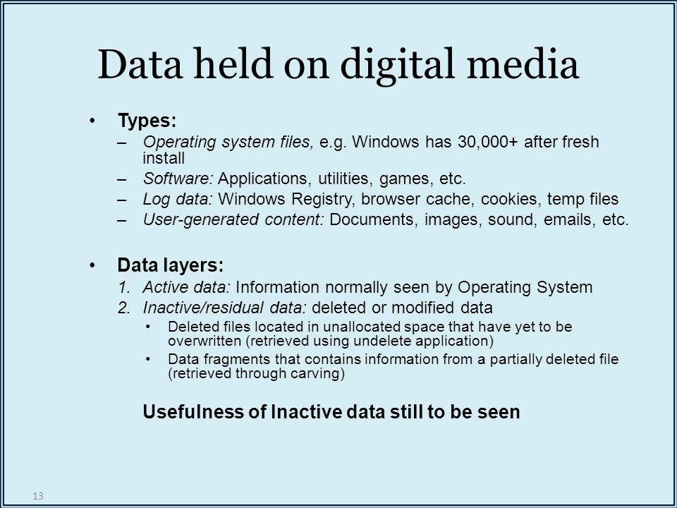 13 Data held on digital media Types: –Operating system files, e.g.