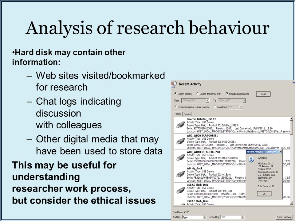 Analysis of research behaviour Hard disk may contain other information: –Web sites visited/bookmarked for research –Chat logs indicating discussion wi