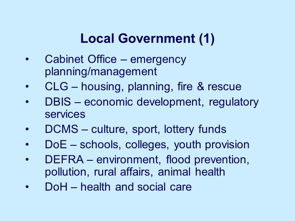 Local Government (1) Cabinet Office – emergency planning/management CLG – housing, planning, fire & rescue DBIS – economic development, regulatory ser