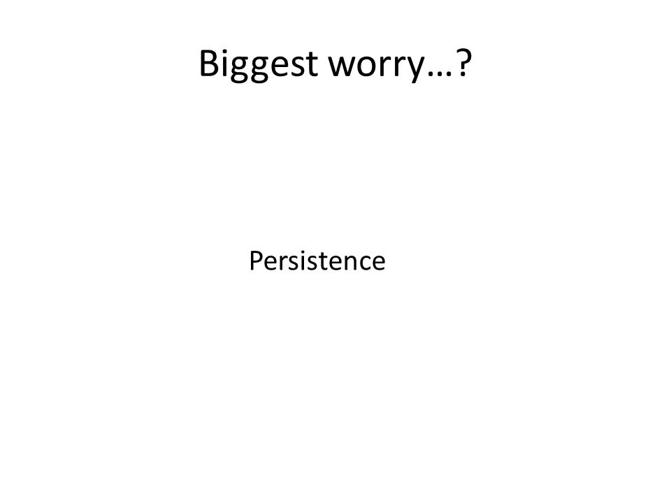 Biggest worry… Persistence