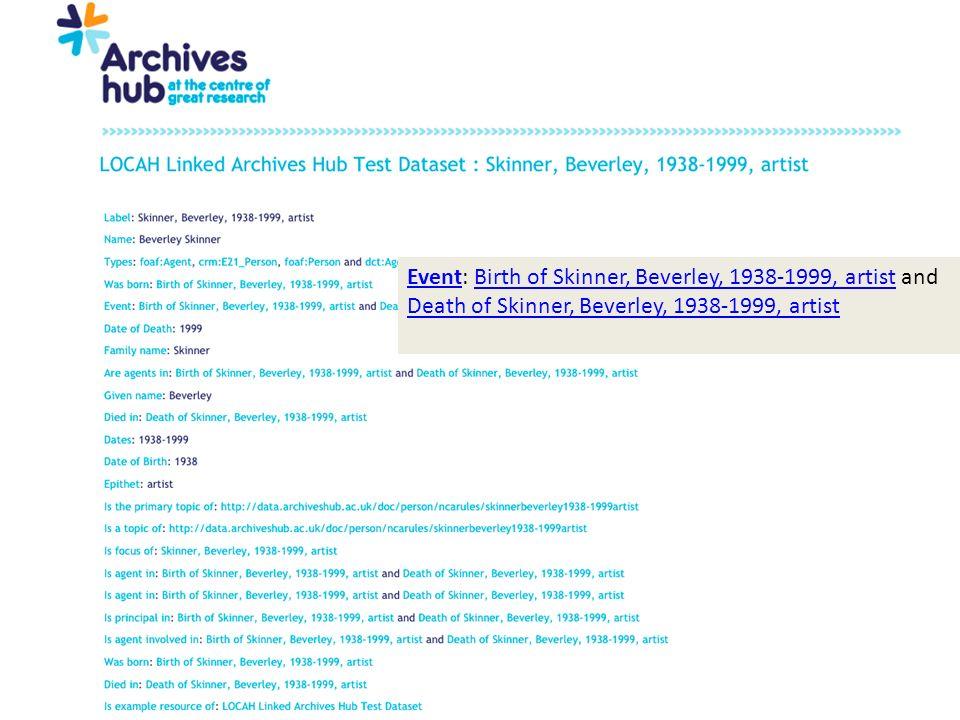 EventEvent: Birth of Skinner, Beverley, 1938-1999, artist and Death of Skinner, Beverley, 1938-1999, artistBirth of Skinner, Beverley, 1938-1999, artist Death of Skinner, Beverley, 1938-1999, artist
