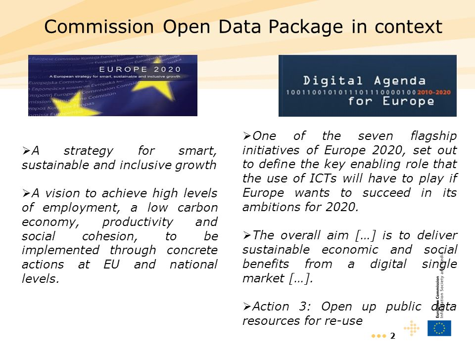 2 Commission Open Data Package in context A strategy for smart, sustainable and inclusive growth A vision to achieve high levels of employment, a low
