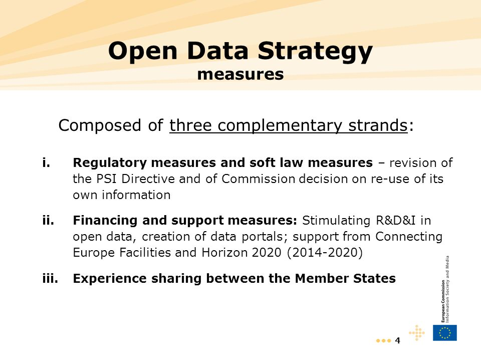 4 Open Data Strategy measures Composed of three complementary strands: i.Regulatory measures and soft law measures – revision of the PSI Directive and of Commission decision on re-use of its own information ii.Financing and support measures: Stimulating R&D&I in open data, creation of data portals; support from Connecting Europe Facilities and Horizon 2020 (2014-2020) iii.Experience sharing between the Member States