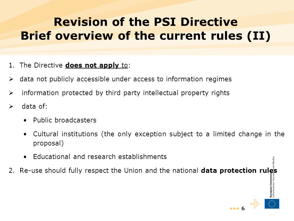 6 Revision of the PSI Directive Brief overview of the current rules (II) 1.The Directive does not apply to: data not publicly accessible under access to information regimes information protected by third party intellectual property rights data of: Public broadcasters Cultural institutions (the only exception subject to a limited change in the proposal) Educational and research establishments 2.Re-use should fully respect the Union and the national data protection rules