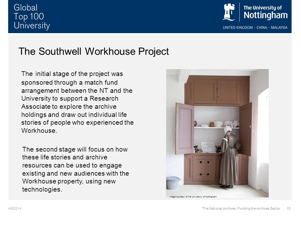 4/8/2014The National Archives: Funding the Archives Sector10 The Southwell Workhouse Project The initial stage of the project was sponsored through a