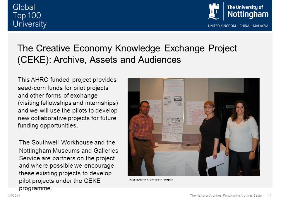 4/8/2014The National Archives: Funding the Archives Sector14 The Creative Economy Knowledge Exchange Project (CEKE): Archive, Assets and Audiences Thi