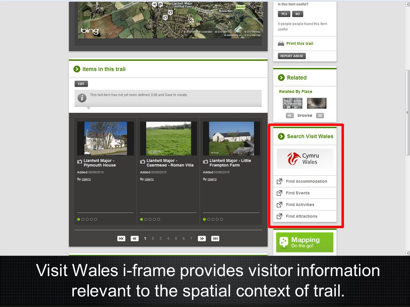 Visit Wales i-frame provides visitor information relevant to the spatial context of trail.