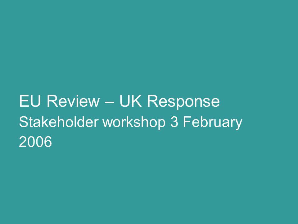 Stakeholder workshop 3 February 2006 EU Review – UK Response