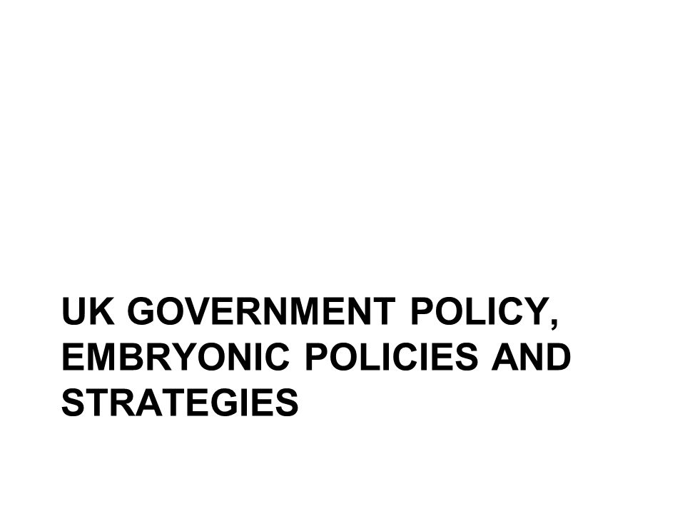 UK GOVERNMENT POLICY, EMBRYONIC POLICIES AND STRATEGIES