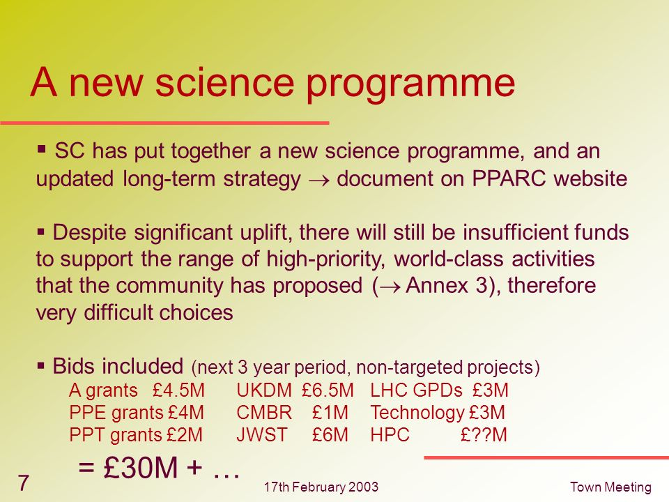 17th February 2003Town Meeting 7 SC has put together a new science programme, and an updated long-term strategy document on PPARC website Despite sign