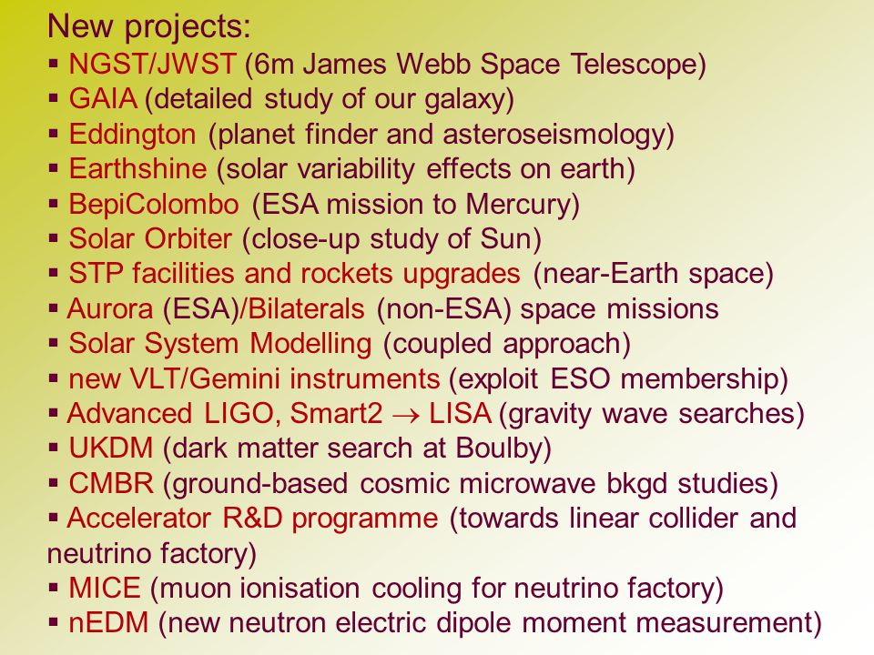 New projects: NGST/JWST (6m James Webb Space Telescope) GAIA (detailed study of our galaxy) Eddington (planet finder and asteroseismology) Earthshine
