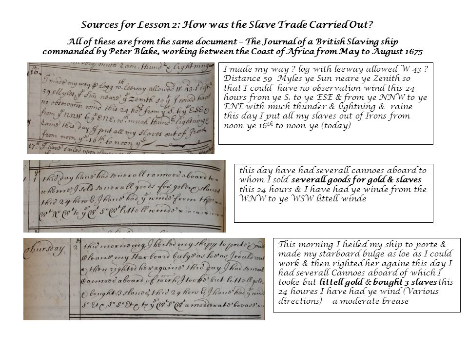 Sources for Lesson 2: How was the Slave Trade Carried Out.