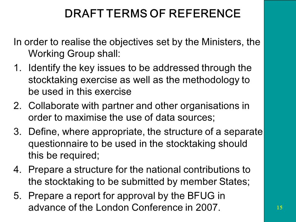 15 DRAFT TERMS OF REFERENCE In order to realise the objectives set by the Ministers, the Working Group shall: 1.Identify the key issues to be addressed through the stocktaking exercise as well as the methodology to be used in this exercise 2.Collaborate with partner and other organisations in order to maximise the use of data sources; 3.Define, where appropriate, the structure of a separate questionnaire to be used in the stocktaking should this be required; 4.Prepare a structure for the national contributions to the stocktaking to be submitted by member States; 5.Prepare a report for approval by the BFUG in advance of the London Conference in 2007.