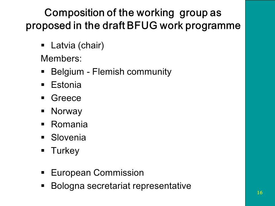 16 Composition of the working group as proposed in the draft BFUG work programme Latvia (chair) Members: Belgium - Flemish community Estonia Greece Norway Romania Slovenia Turkey European Commission Bologna secretariat representative