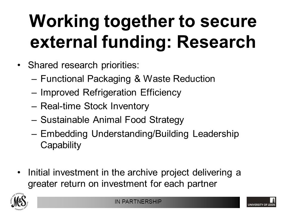 Working together to secure external funding: Research Shared research priorities: –Functional Packaging & Waste Reduction –Improved Refrigeration Efficiency –Real-time Stock Inventory –Sustainable Animal Food Strategy –Embedding Understanding/Building Leadership Capability Initial investment in the archive project delivering a greater return on investment for each partner IN PARTNERSHIP