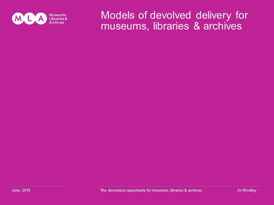 Models of devolved delivery for museums, libraries & archives …………………………………….