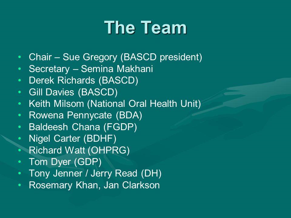 The Team Chair – Sue Gregory (BASCD president) Secretary – Semina Makhani Derek Richards (BASCD) Gill Davies (BASCD) Keith Milsom (National Oral Healt