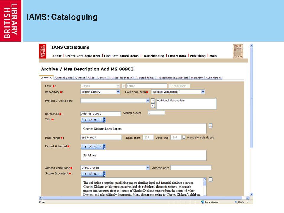 IAMS: Cataloguing
