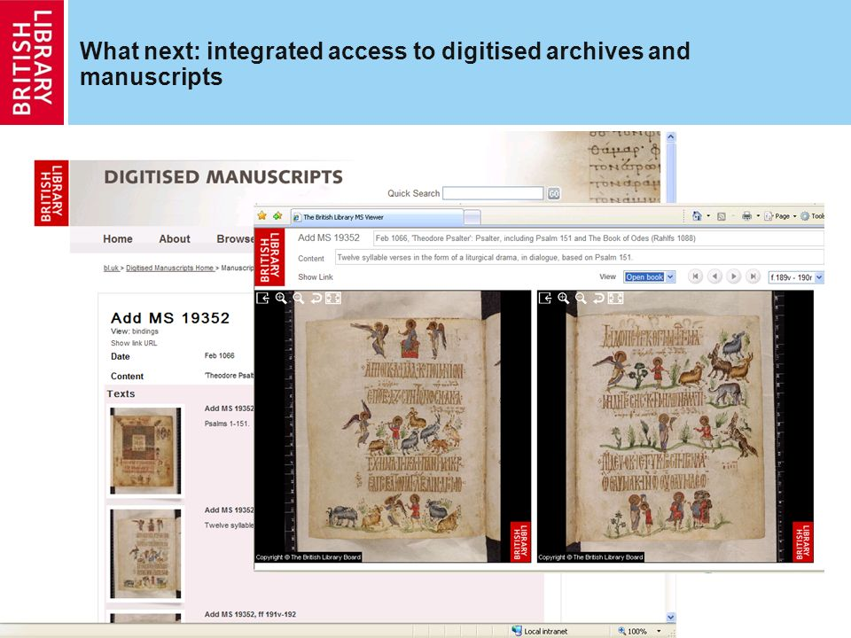 What next: integrated access to digitised archives and manuscripts http://searcharchives.bl.uk