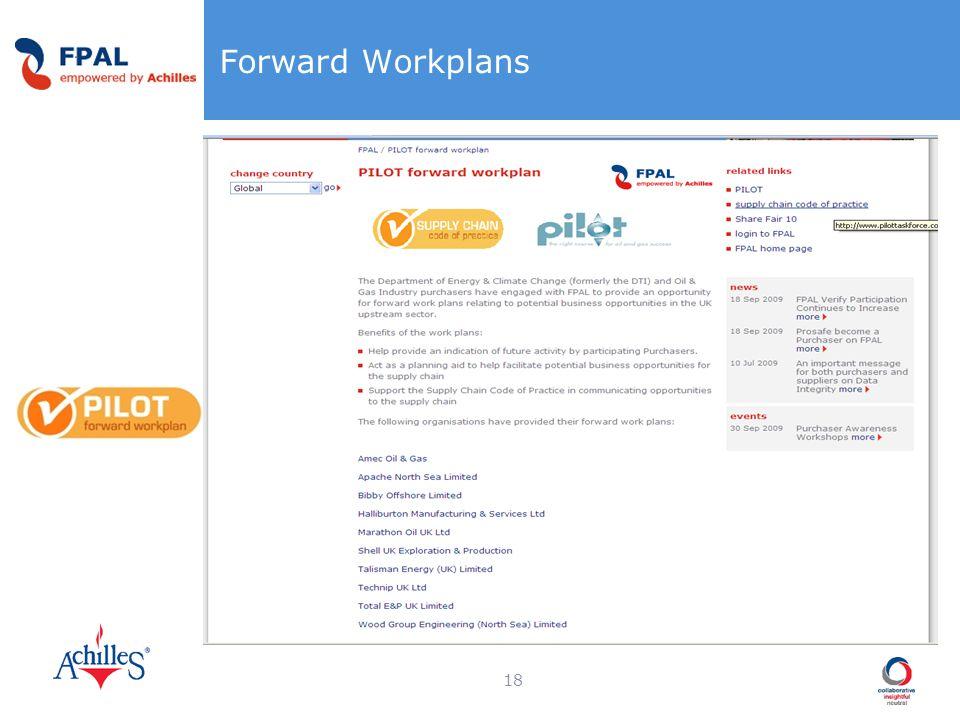 Forward Workplans 18