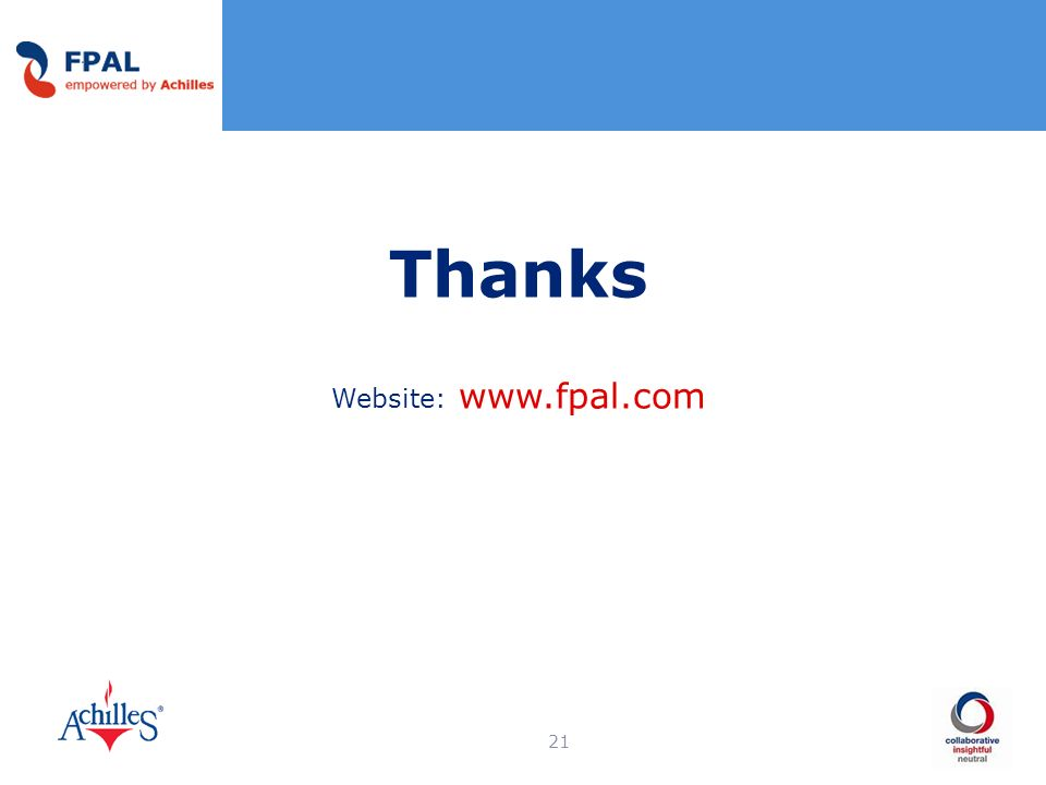 21 Thanks Website: www.fpal.com