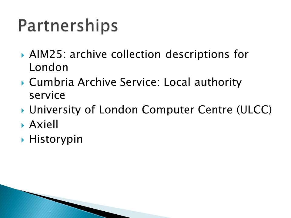 AIM25: archive collection descriptions for London Cumbria Archive Service: Local authority service University of London Computer Centre (ULCC) Axiell