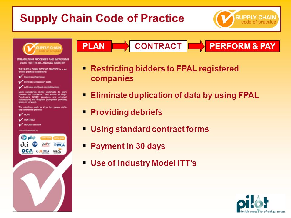 PLANCONTRACTPERFORM & PAY Restricting bidders to FPAL registered companies Eliminate duplication of data by using FPAL Providing debriefs Using standa