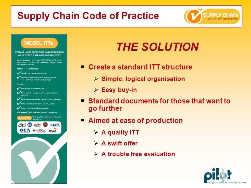 Create a standard ITT structure Simple, logical organisation Easy buy-in Standard documents for those that want to go further Aimed at ease of product