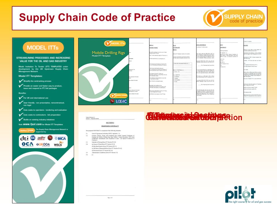 Guidelines on completion ITT Index Tendering instructions Technical Sections Commercial Sections Contractual Sections Supply Chain Code of Practice