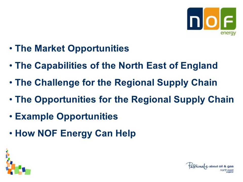 The Market Opportunities The Capabilities of the North East of England The Challenge for the Regional Supply Chain The Opportunities for the Regional Supply Chain Example Opportunities How NOF Energy Can Help