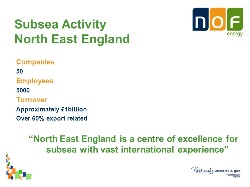 Companies 50 Employees 5000 Turnover Approximately £1billion Over 60% export related North East England is a centre of excellence for subsea with vast international experience Subsea Activity North East England