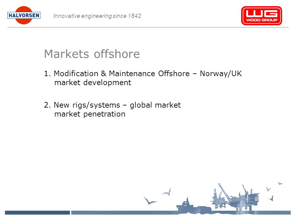Innovative engineering since 1842 Markets offshore 1.