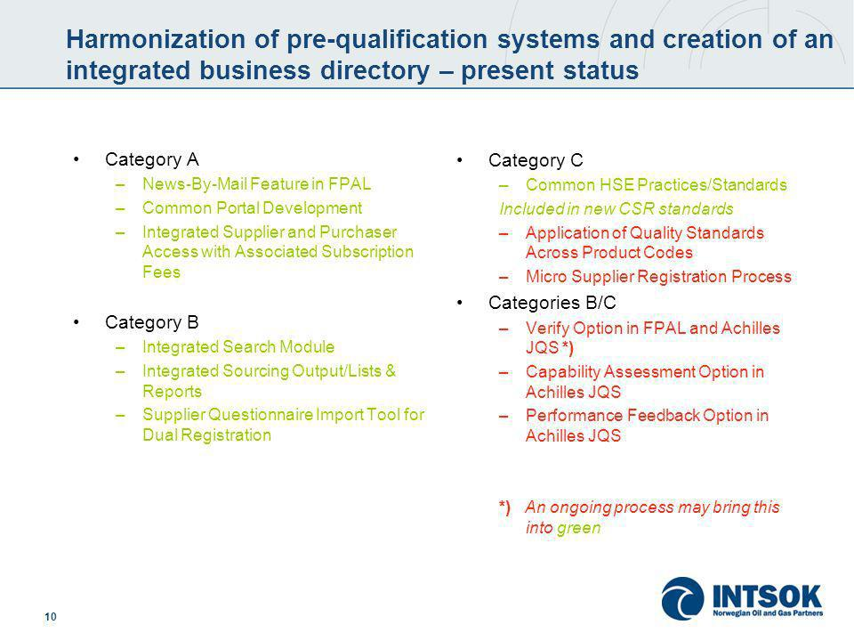 10 Harmonization of pre-qualification systems and creation of an integrated business directory – present status Category A –News-By-Mail Feature in FP