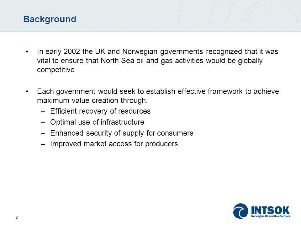 2 Background In early 2002 the UK and Norwegian governments recognized that it was vital to ensure that North Sea oil and gas activities would be globally competitive Each government would seek to establish effective framework to achieve maximum value creation through: –Efficient recovery of resources –Optimal use of infrastructure –Enhanced security of supply for consumers –Improved market access for producers