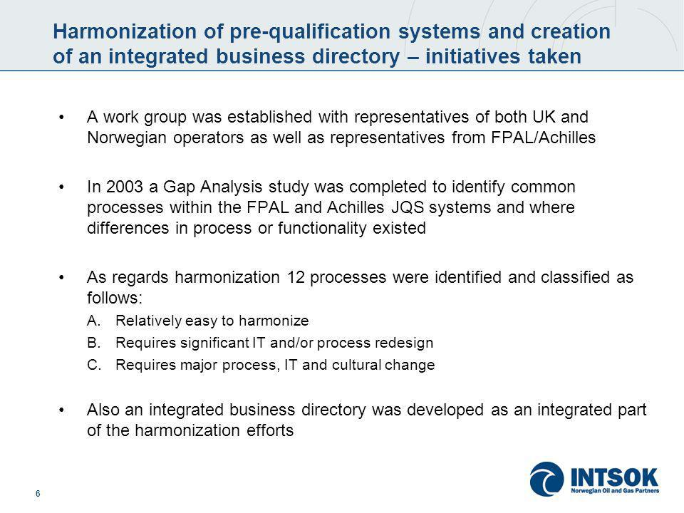 6 Harmonization of pre-qualification systems and creation of an integrated business directory – initiatives taken A work group was established with re
