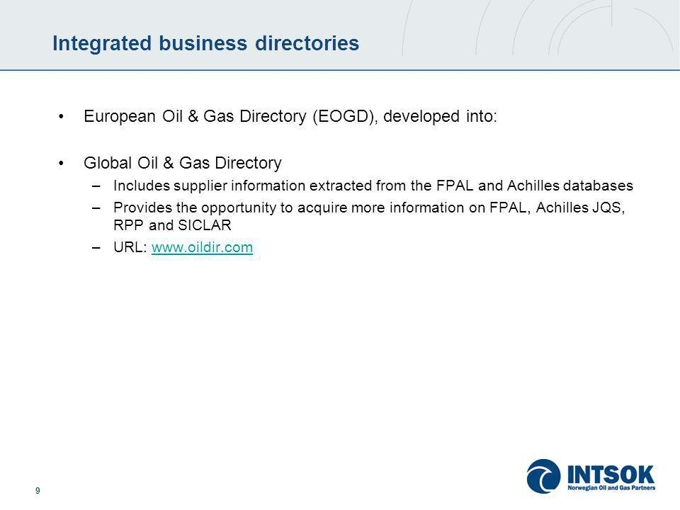 9 Integrated business directories European Oil & Gas Directory (EOGD), developed into: Global Oil & Gas Directory –Includes supplier information extracted from the FPAL and Achilles databases –Provides the opportunity to acquire more information on FPAL, Achilles JQS, RPP and SICLAR –URL: www.oildir.comwww.oildir.com