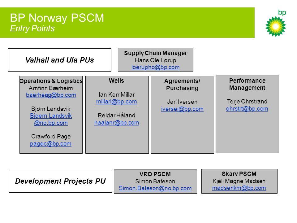 BP Norway PSCM Entry Points Supply Chain Manager Hans Ole Lørup loerupho@bp.com Operations & Logistics Arnfinn Bærheim baerheag@bp.com Bjørn Landsvik