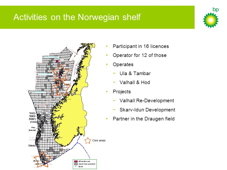Activities on the Norwegian shelf Participant in 16 licences Operator for 12 of those Operates Ula & Tambar Valhall & Hod Projects Valhall Re-Developm