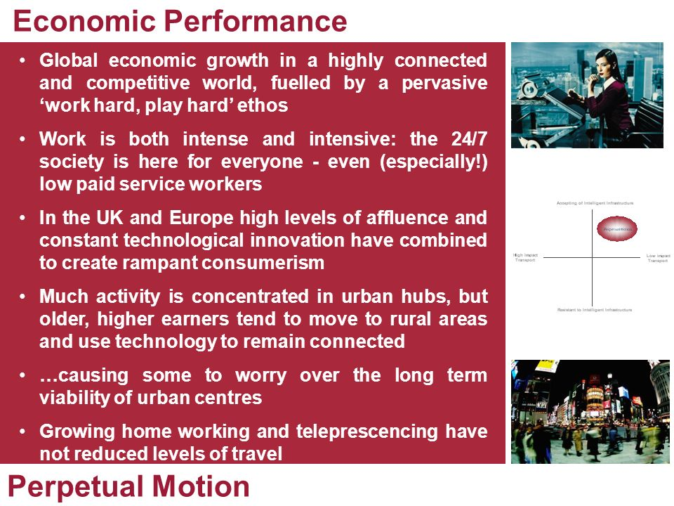 Global economic growth in a highly connected and competitive world, fuelled by a pervasive work hard, play hard ethos Work is both intense and intensi