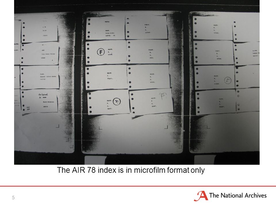 The AIR 78 index is in microfilm format only 5
