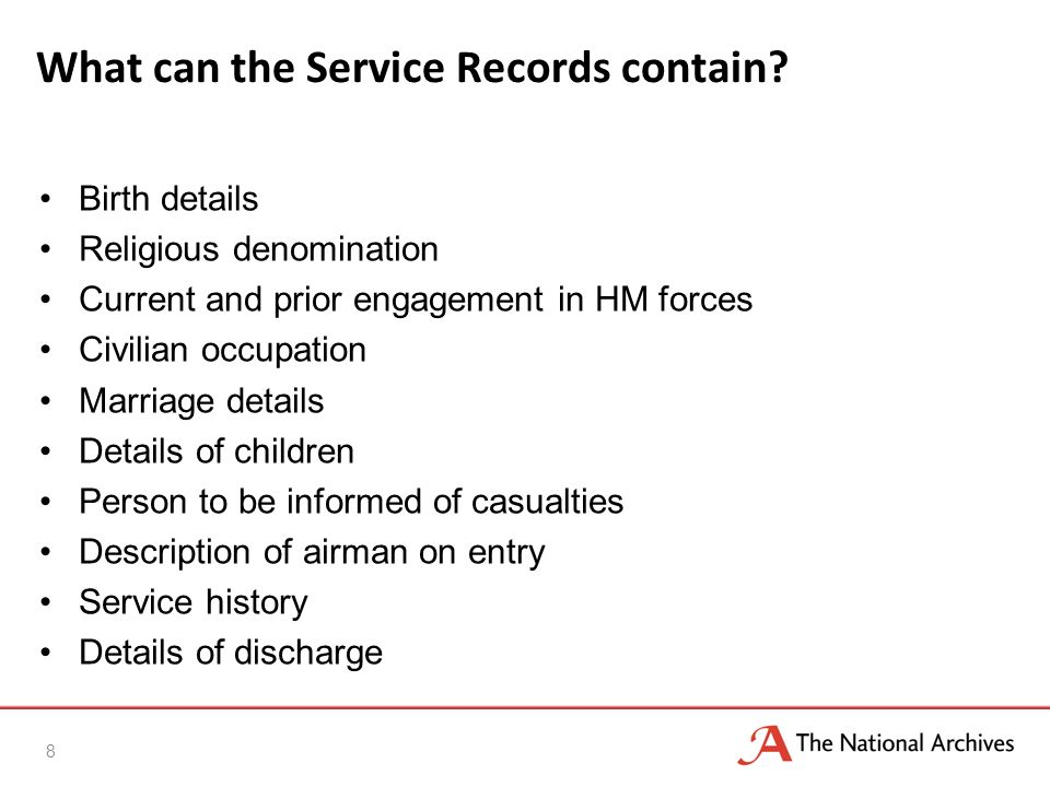 What can the Service Records contain.