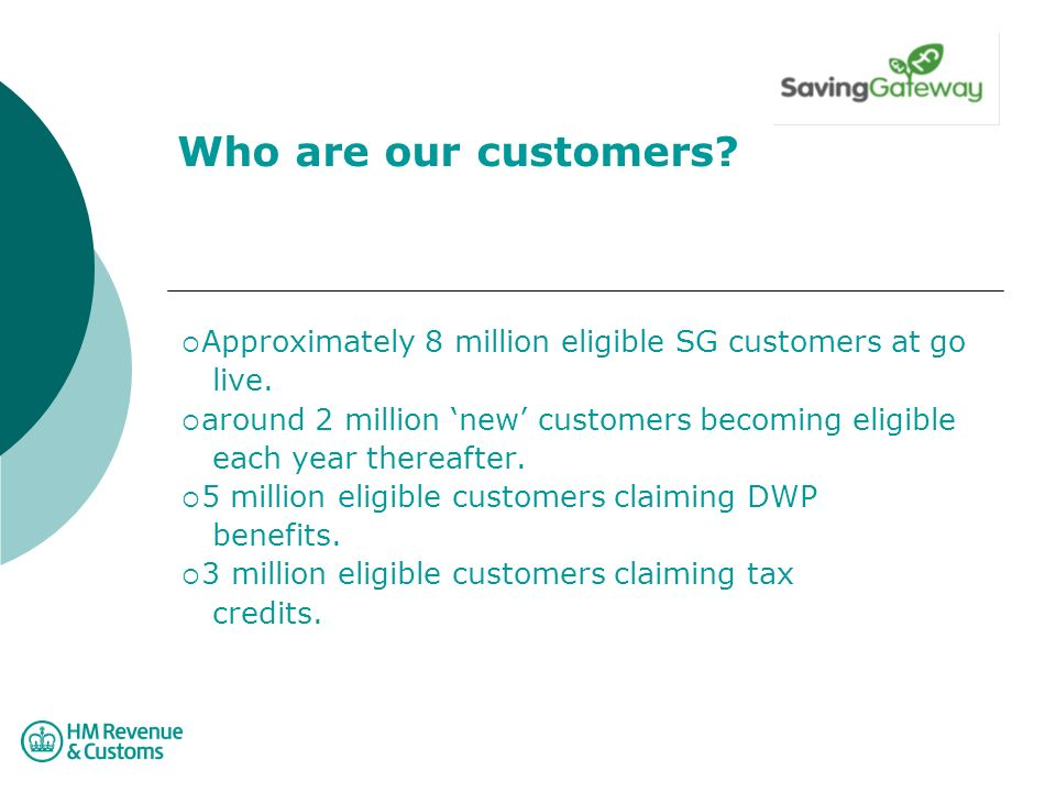 Who are our customers. Approximately 8 million eligible SG customers at go live.