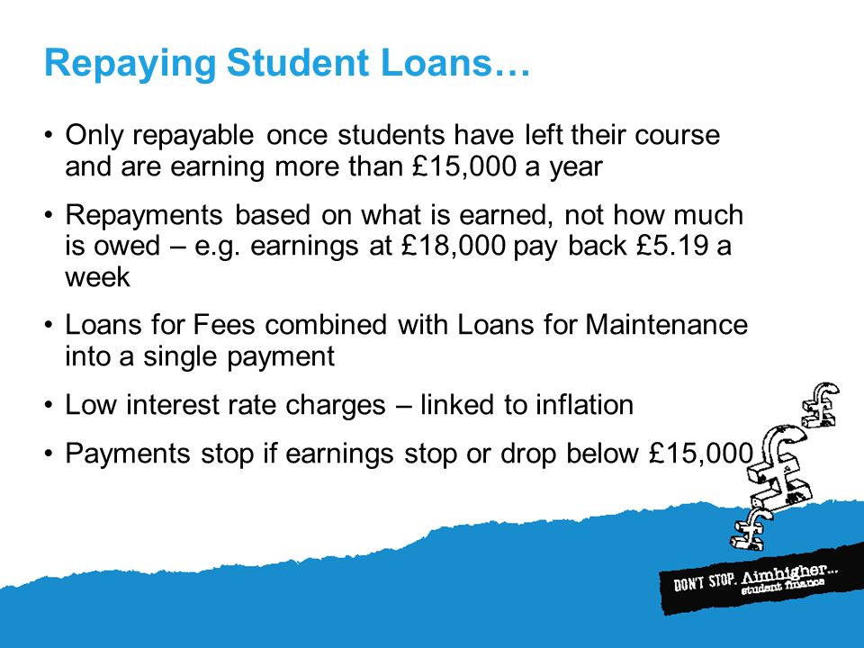 Repaying Student Loans… Only repayable once students have left their course and are earning more than £15,000 a year Repayments based on what is earned, not how much is owed – e.g.