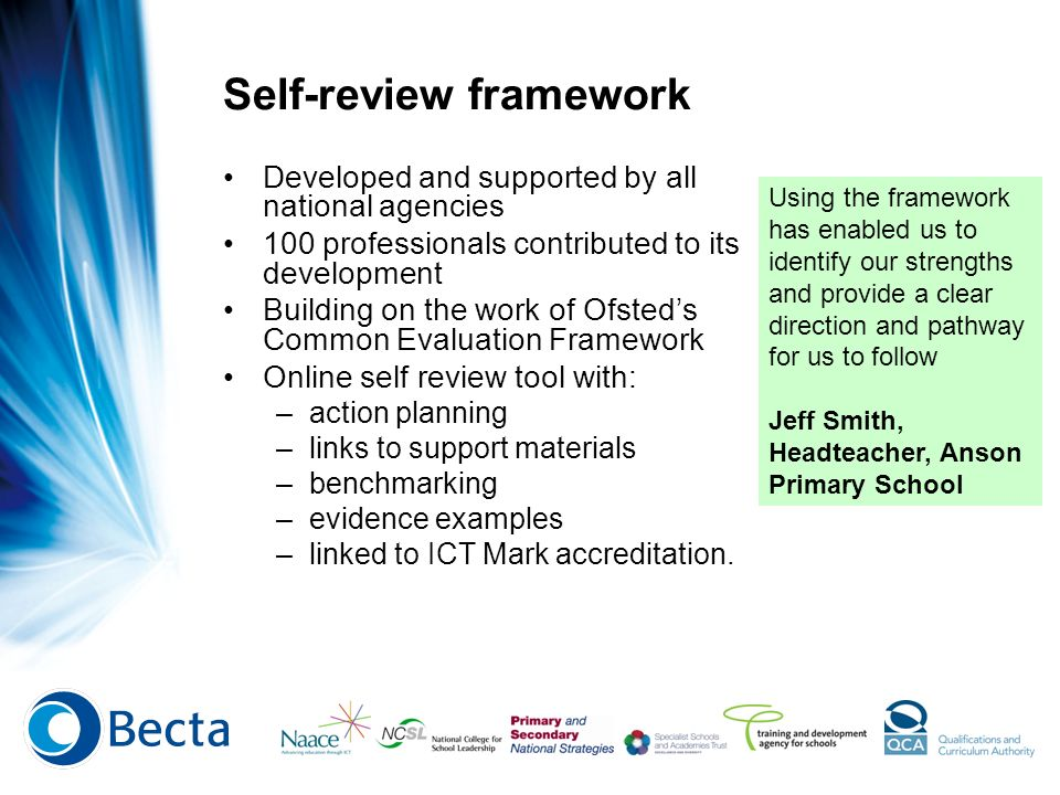 Key areas Why it is needed.What is the self-review framework.